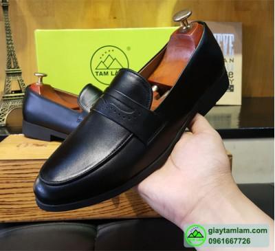 Giày lười dio da bò nam quai da