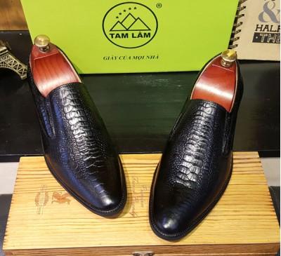 Giày lười công sở vân đà điểu phong cách Italia