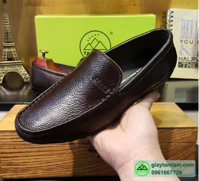 Giày lười da bò nâu đen cánh gián
