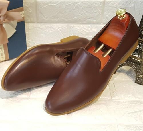 Giày lười công sở da bò trơn một tấm màu nâu