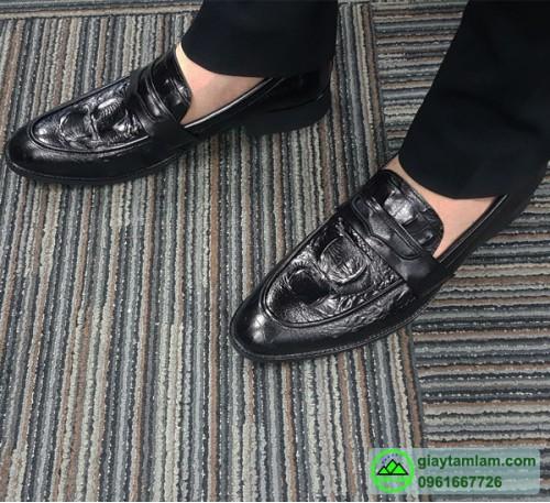 Giày tây công sở da bò vân cá sấu