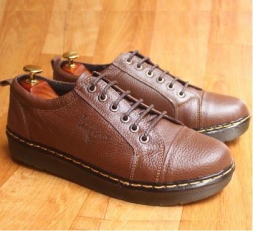 Giày da kiểu dáng Dr Martens đế kếp màu nâu